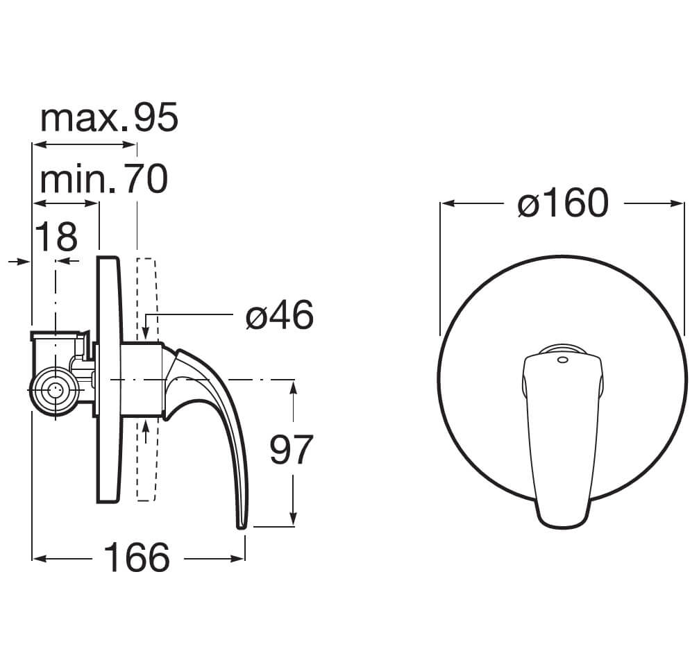 Roca M2 N Half Inch Built In Bath Shower Mixer Valve With Automatic Diverter Diagram Faucet