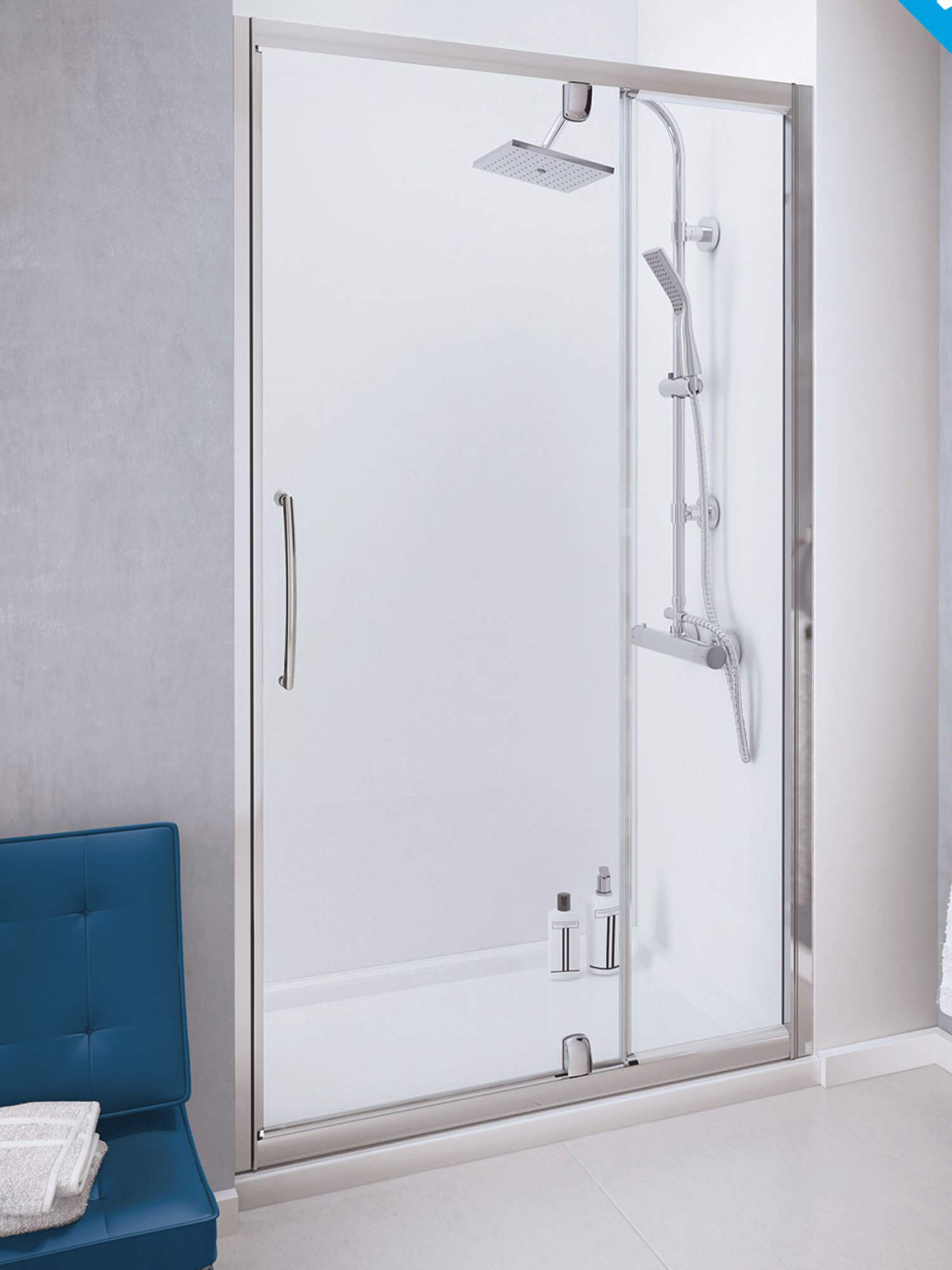 Lakes Classic 1000mm Semi Frameless Pivot Door With Integrated In Line Panel