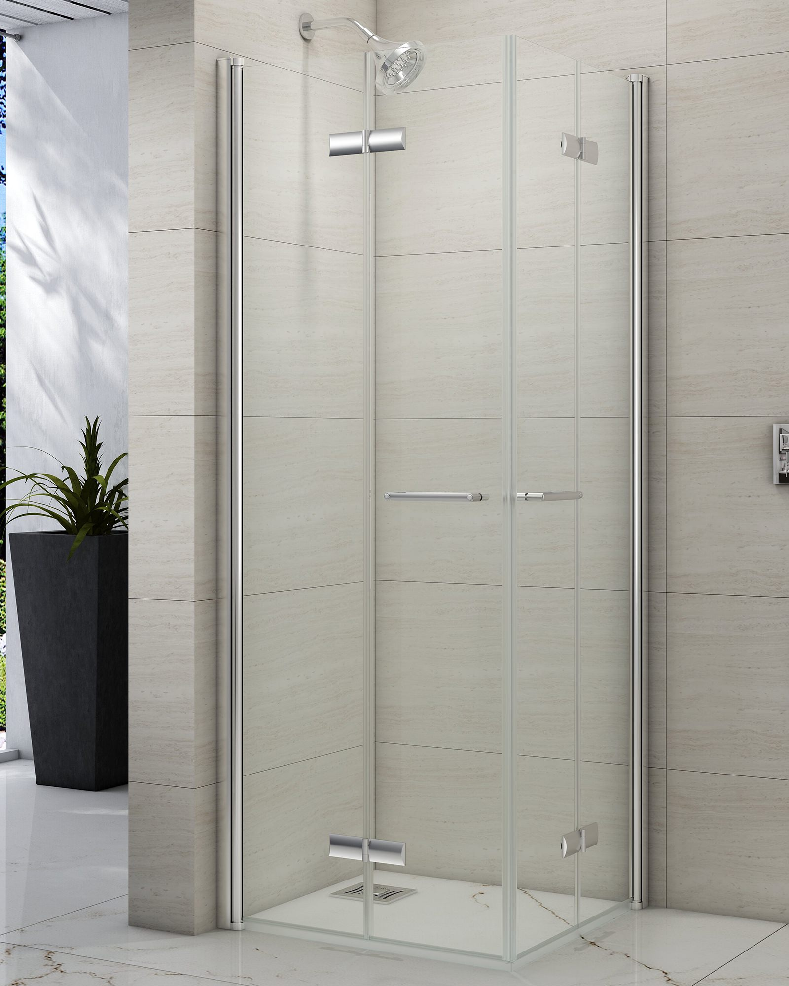 Merlyn 8 series 800mm 2 door quadrant shower enclosure - Merlyn 8 Series Double Folding Showerwall