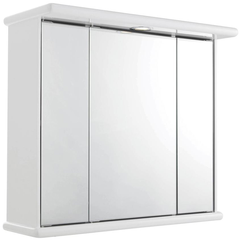 Lauren cryptic 700mm triple door mirrored cabinet with light for Bathroom cabinets 70cm wide