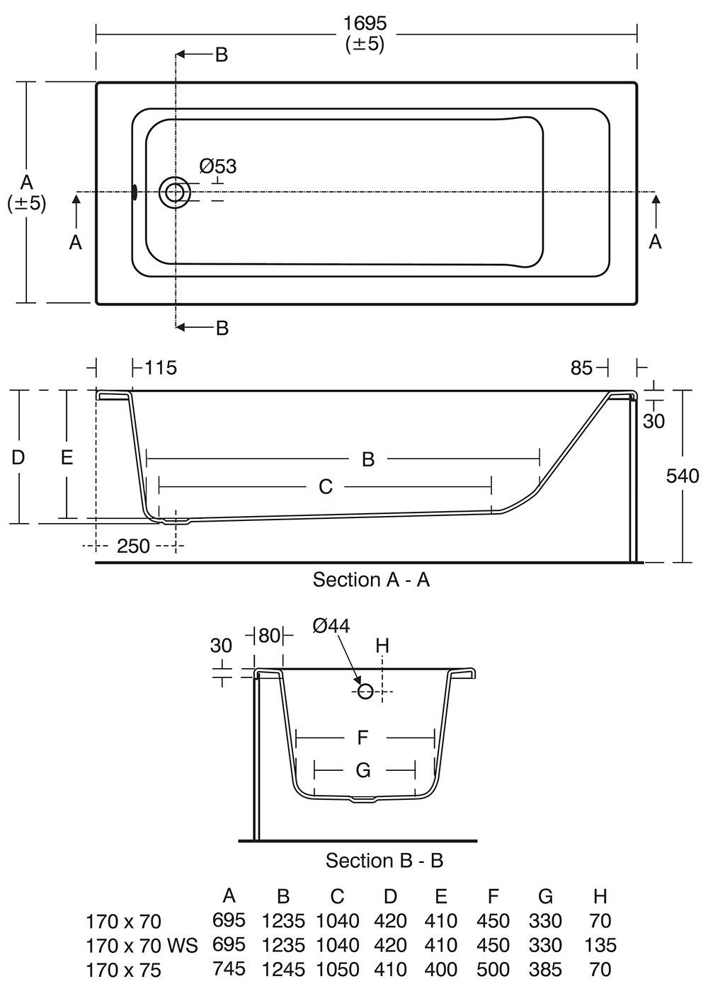 Ideal Standard Tempo Cube 1700 X 750mm Idealform Single