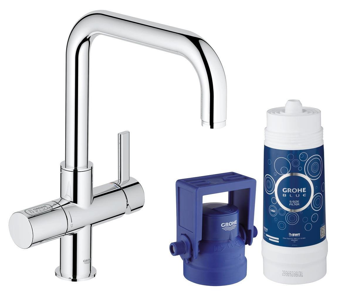 grohe blue single lever u spout kitchen sink mixer tap with filter function. Black Bedroom Furniture Sets. Home Design Ideas