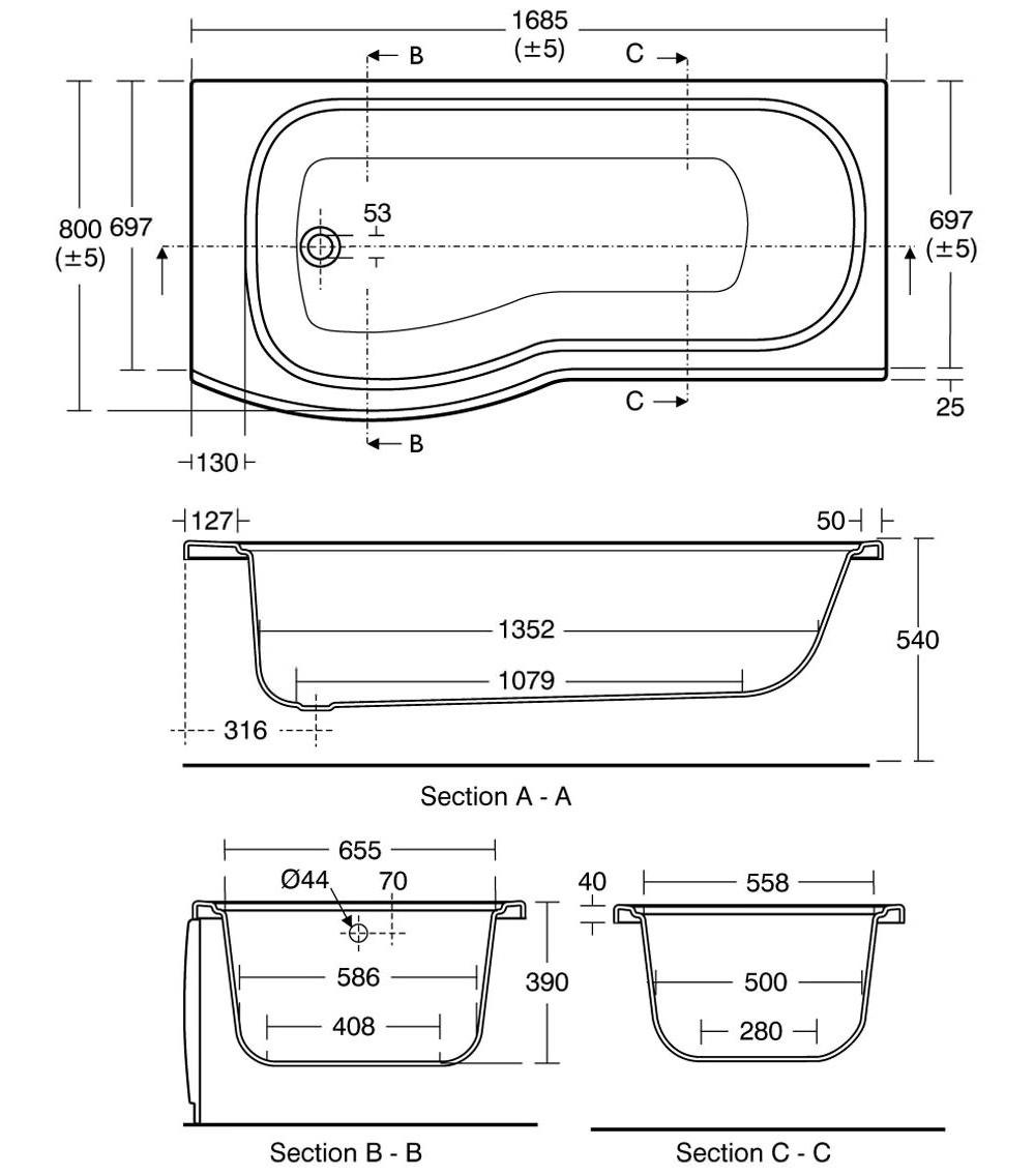 Ideal Standard Alto 170cm X 80cm Left Hand Shower Bath No TH Technical Drawing 2806 E760201