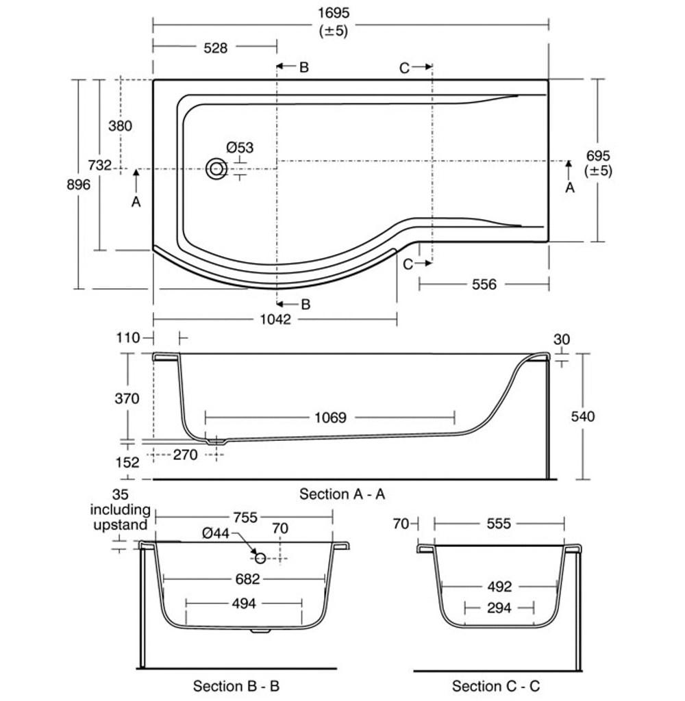 Ideal Standard Concept Idealform Shower Bath 1700 X 700mm Left Hand Technical Drawing 10950 E731601