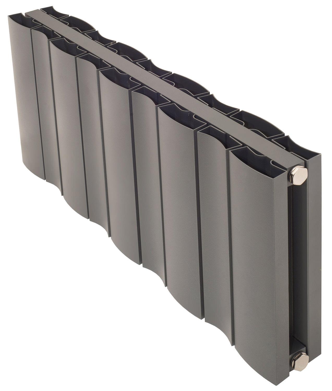 apollo malpensa wave 600mm height horizontal aluminium radiator