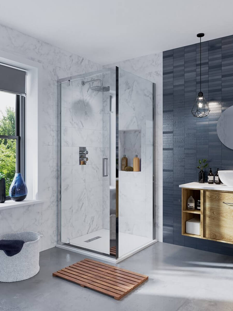 Crosswater Infinity 900mm Wide Pivot Shower Door