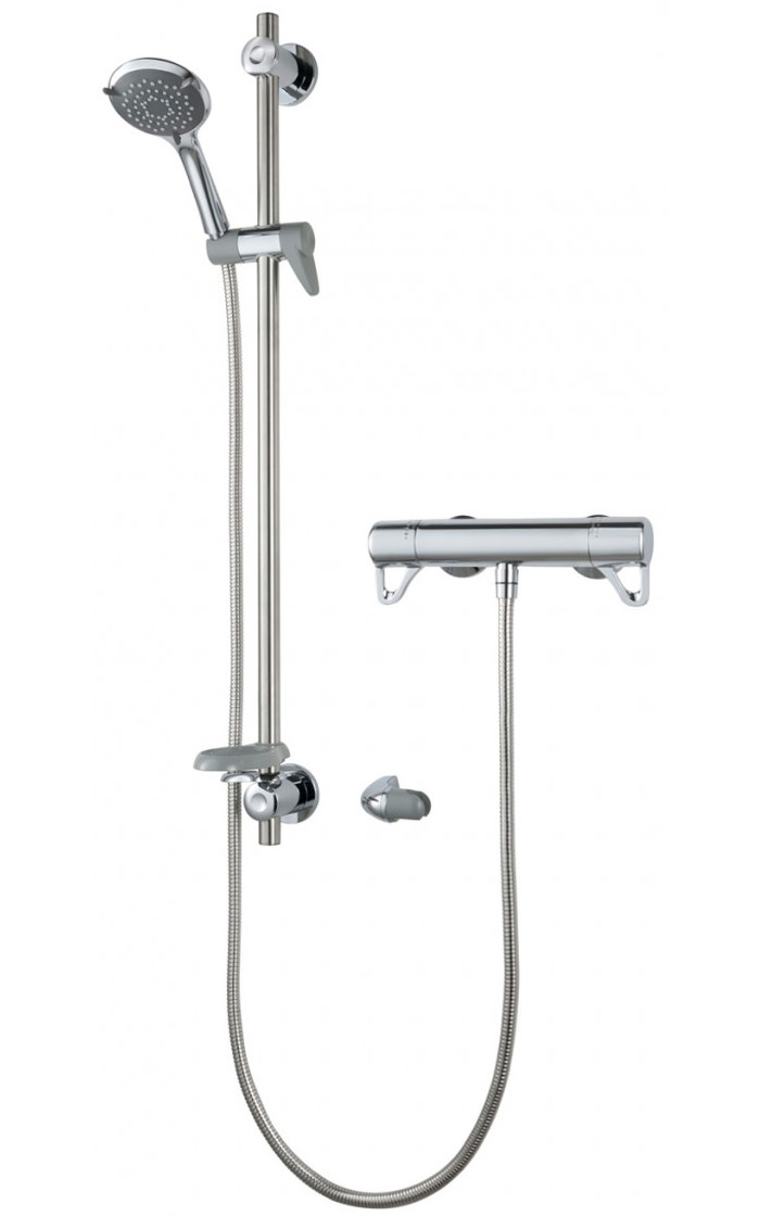 Triton Elina Bar Mixer Exposed Thermostatic Shower Valve With Riser Rail
