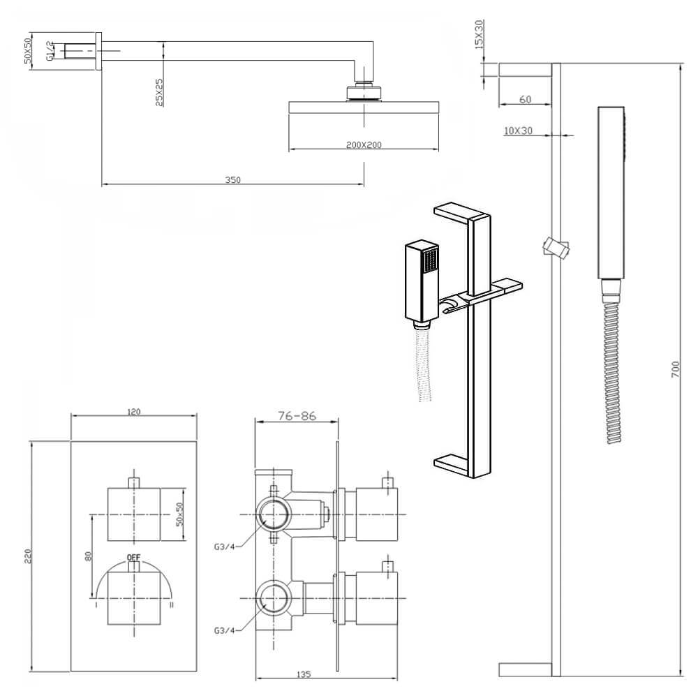 Mayfair Kubo Dual Handle Concealed Valve With Diverter And Shower Schematic Kit