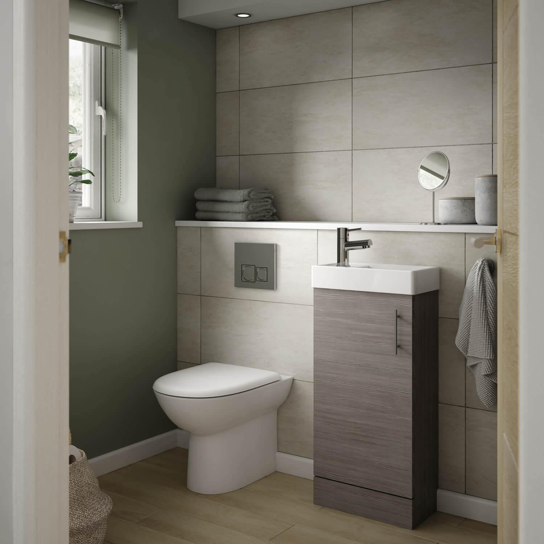 Nuie Vault Wall Hung 1-Door Vanity Unit with Basin Natural Oak 400mm Wide