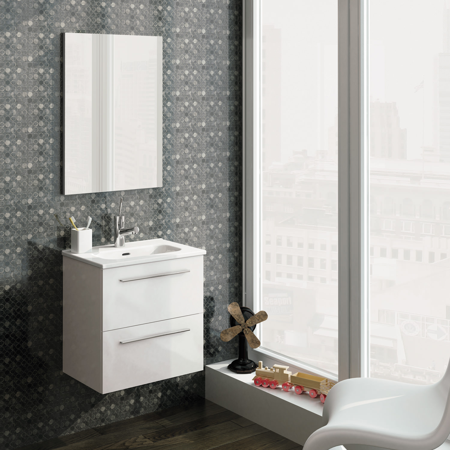 Frontline Royo Street Wall Hung Vanity Unit And Mirror Set