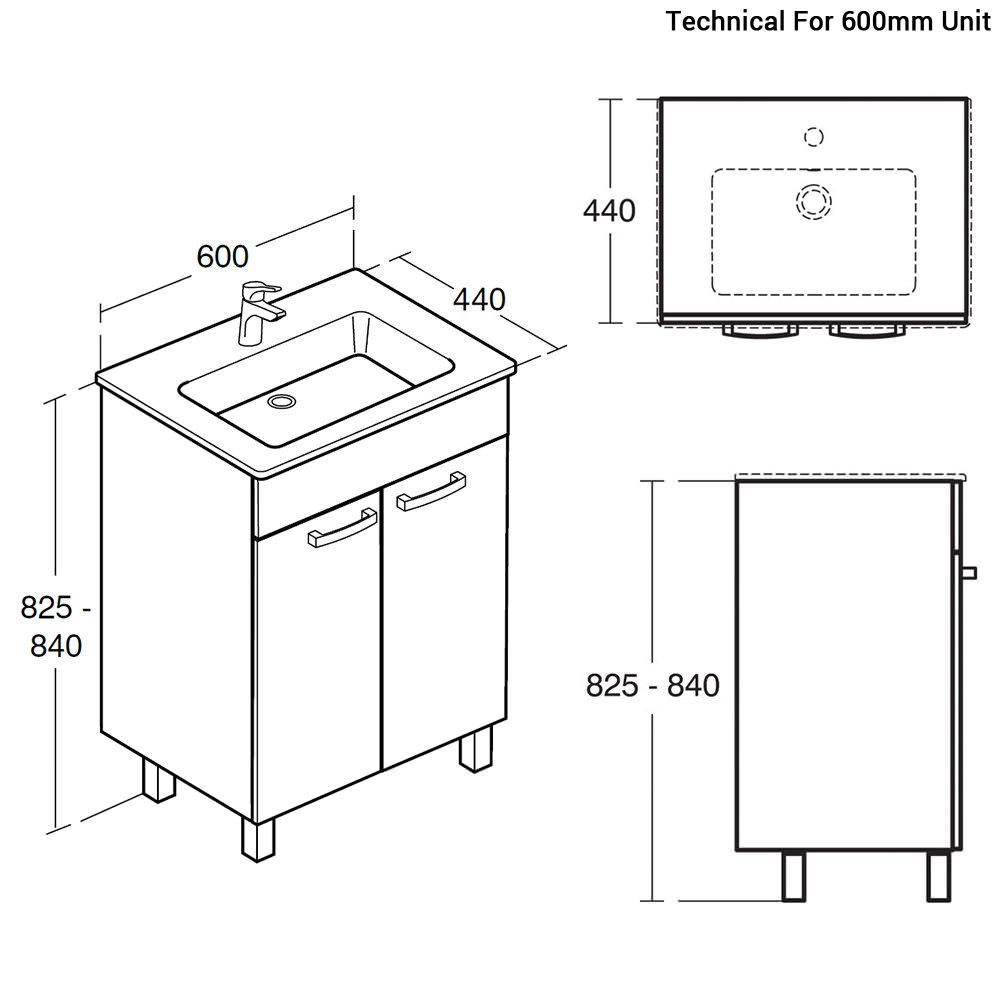 Ideal Standard Tempo 2 Door Floor Standing Vanity Unit With Legs