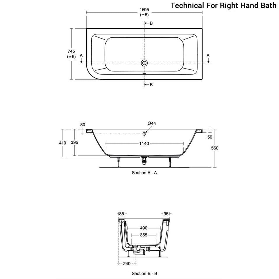 Ideal Standard Concept 1700 X 750mm Asymmetric Idealform