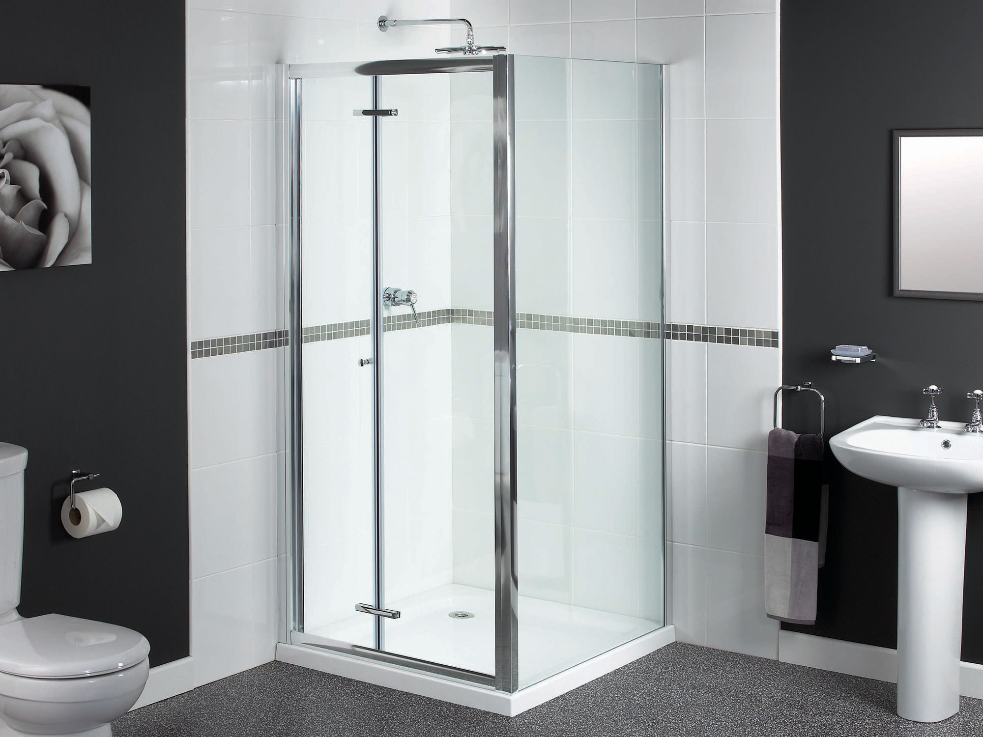 Aqualux Shine Bi Fold Shower Door 900mm Polished Silver