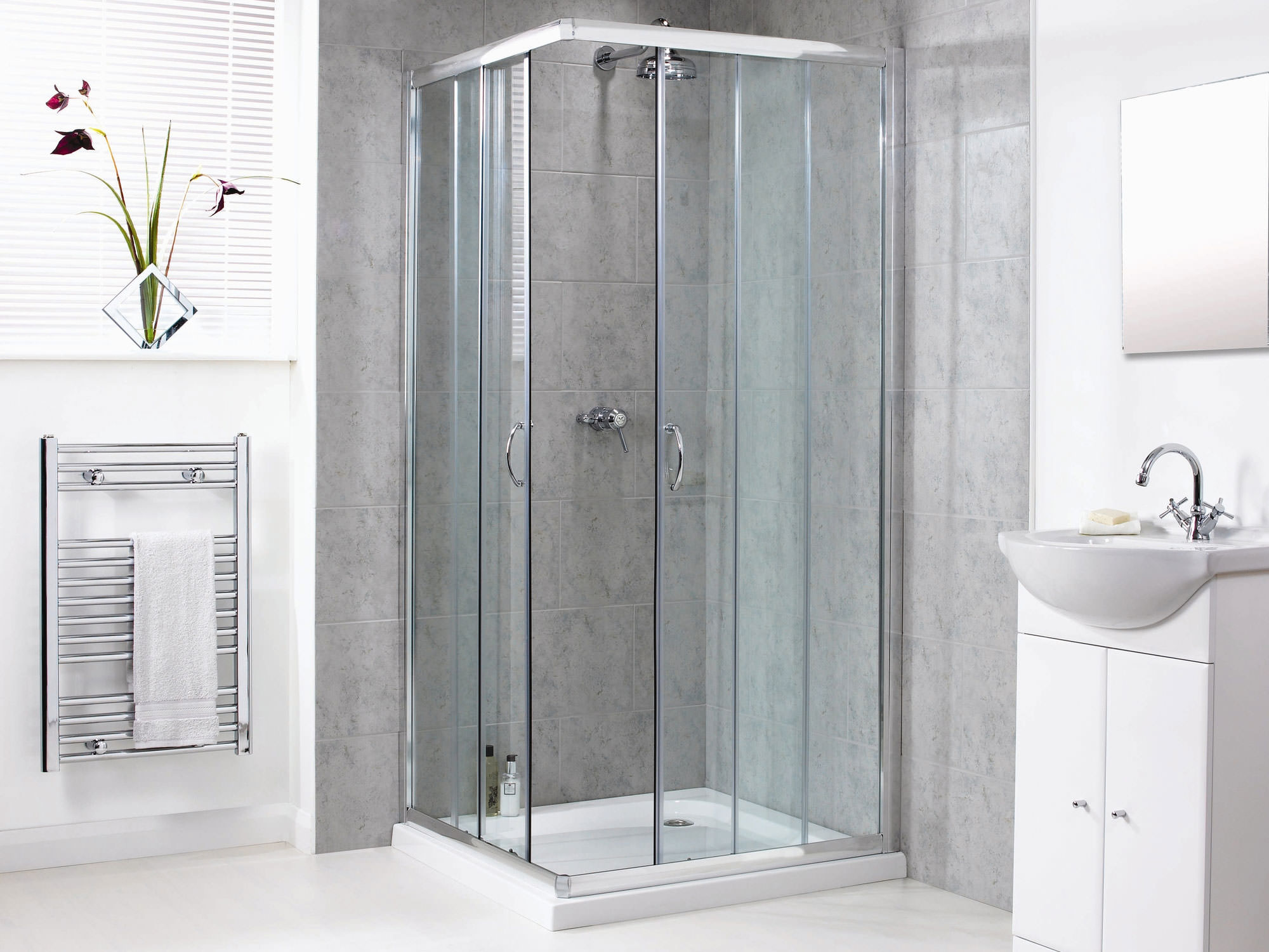 Aqualux Shine Corner Entry Shower Enclosure 800mm Polished Silver