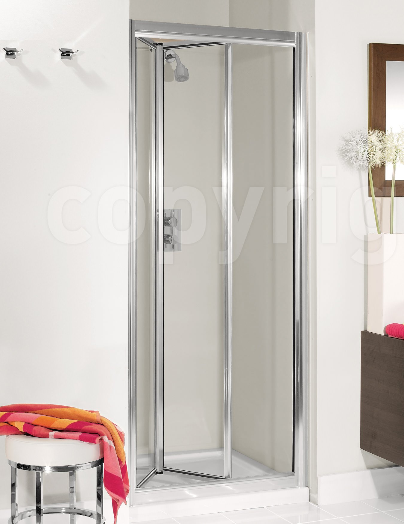 Simpsons Supreme Silver Framed 900mm Bifold Shower Door