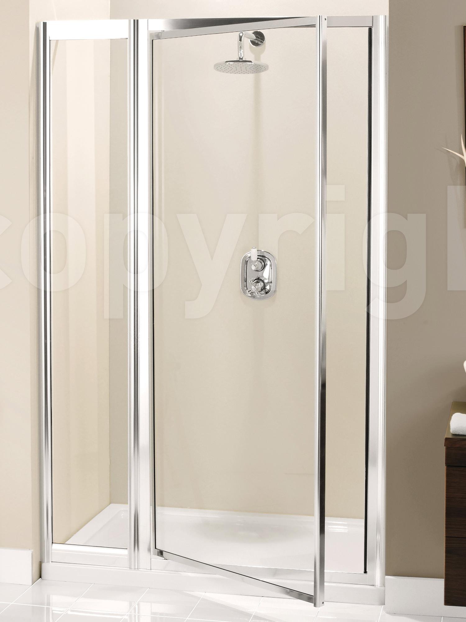 & Simpsons Supreme 1100mm Pivot Shower Door With Inline Panel