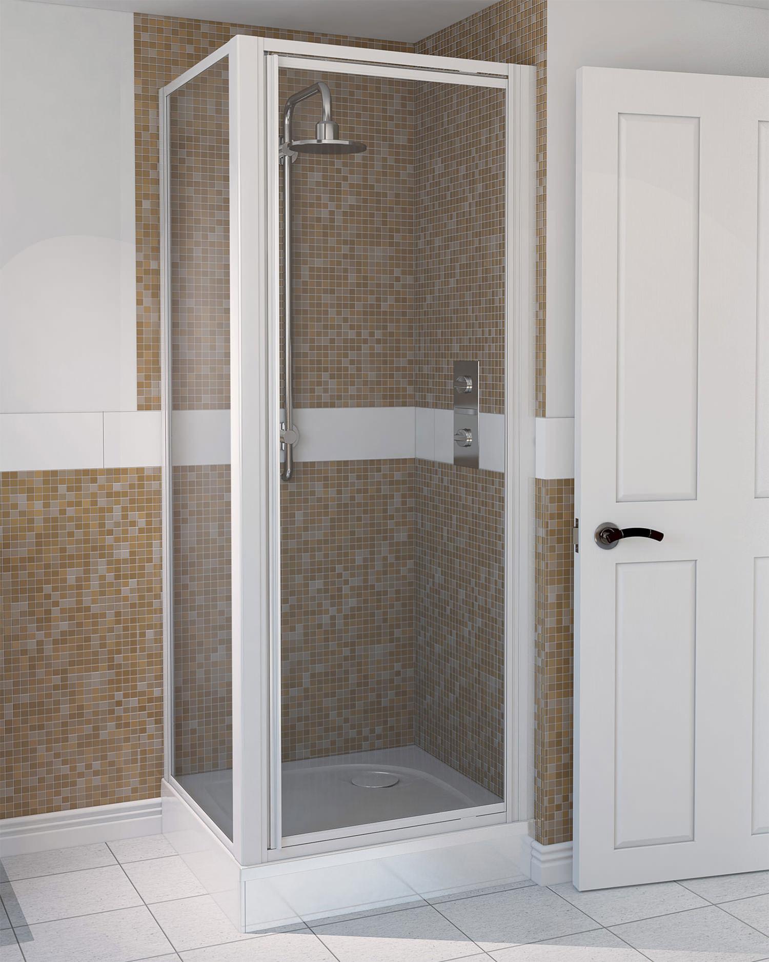 Aqualux Aqua 4 800 X 800mm Pivot Door And Side Panel White