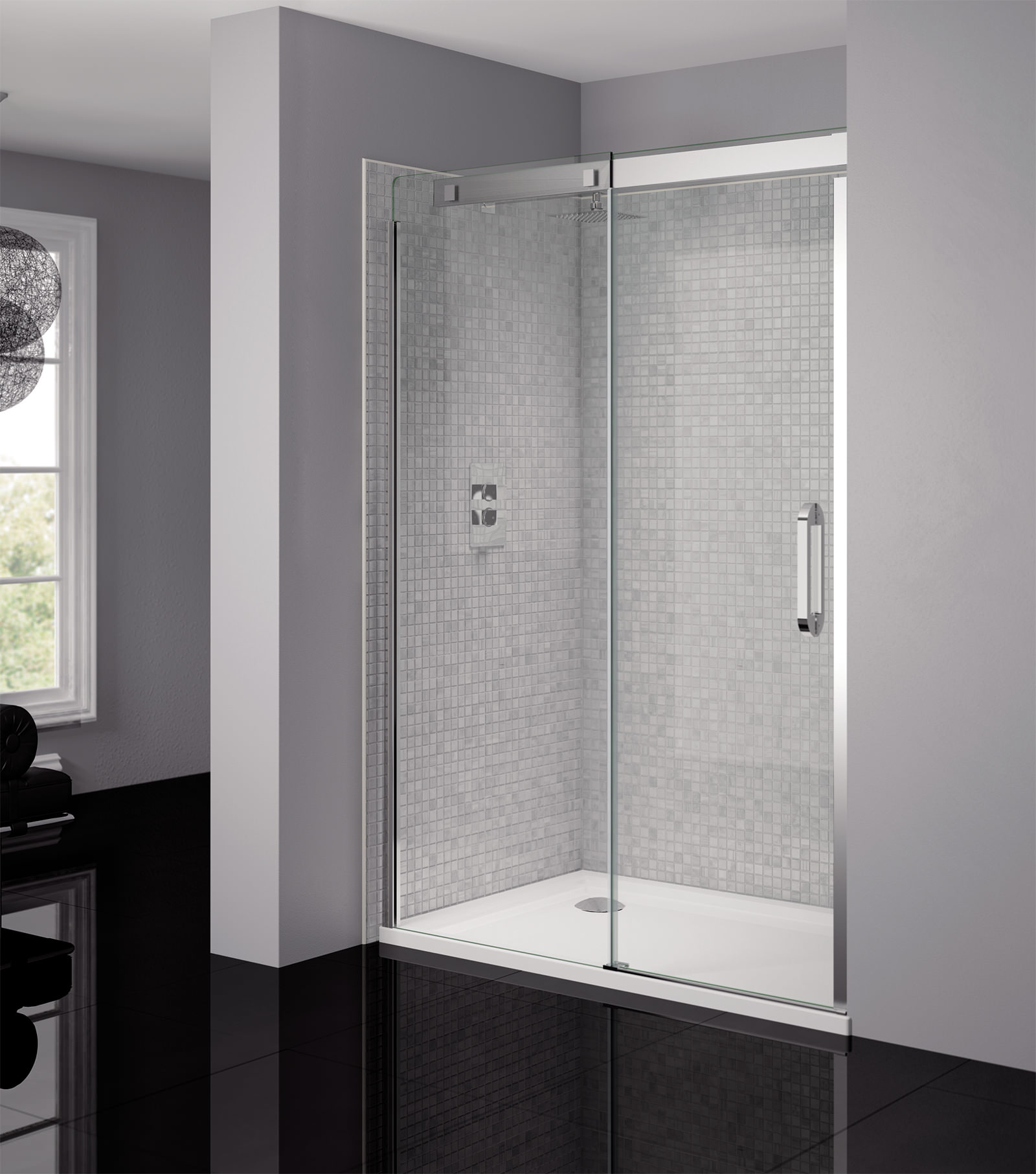 April prestige frameless 1400mm clear silver sliding for 1400mm sliding shower door