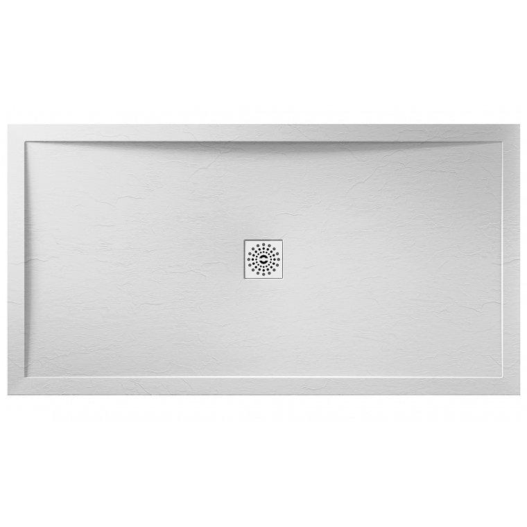 April Waifer 1000 x 800mm Rectangular Slate Effect White Shower Tray