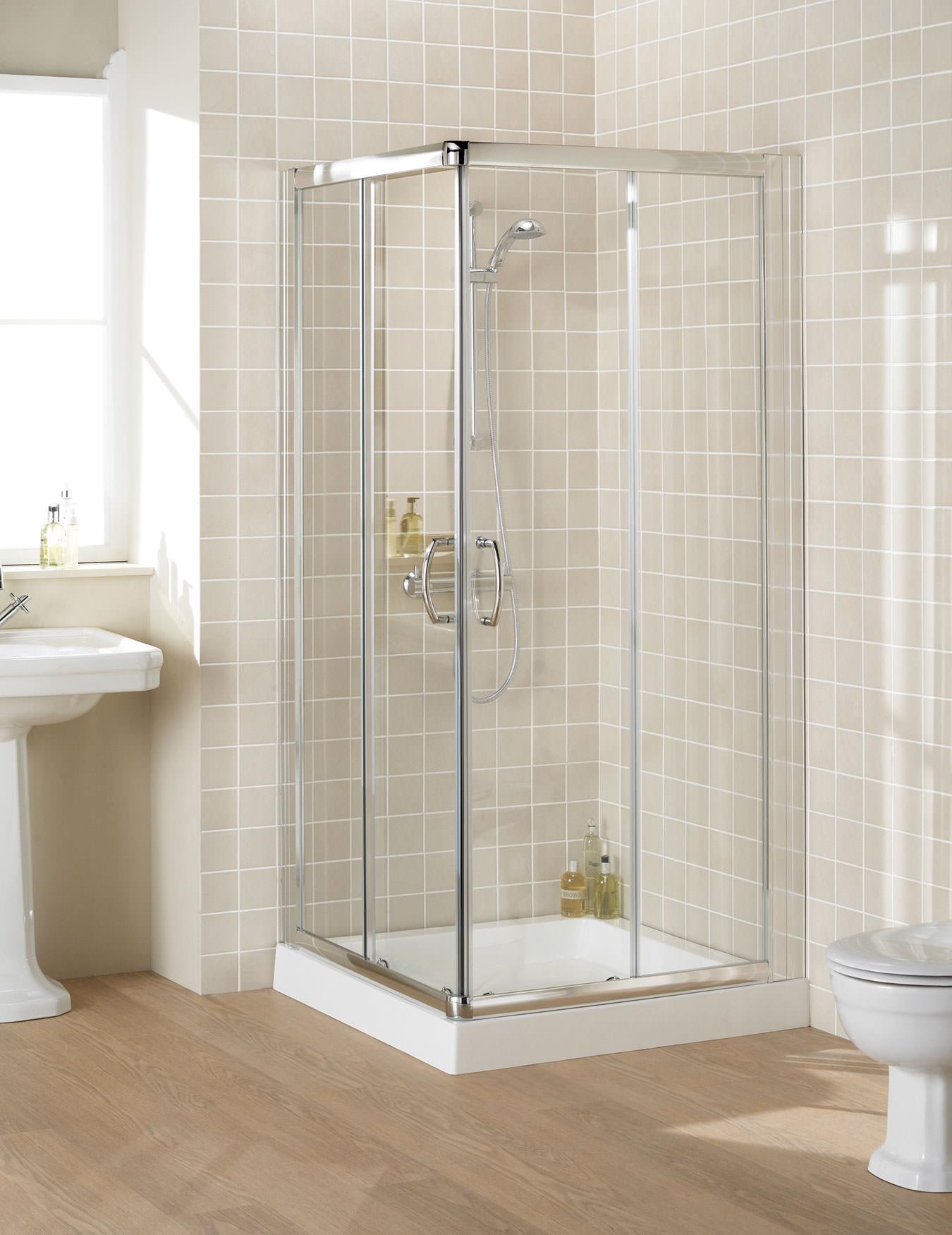 Lakes Classic Semi Frameless Corner Entry Shower Enclosure 90cm Silver