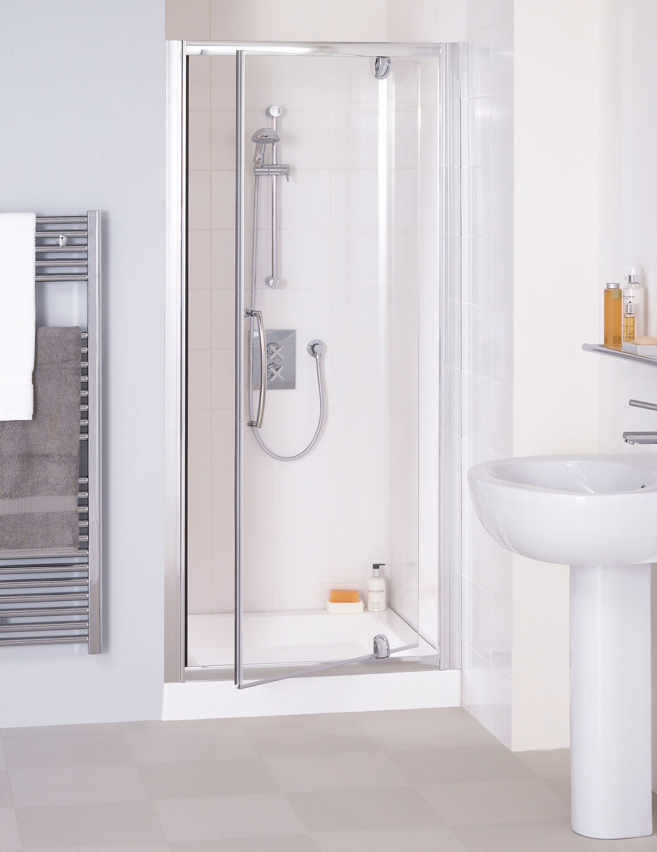 Lakes Classic Semi Frameless Pivot Shower Door 700 X 1850mm Silver