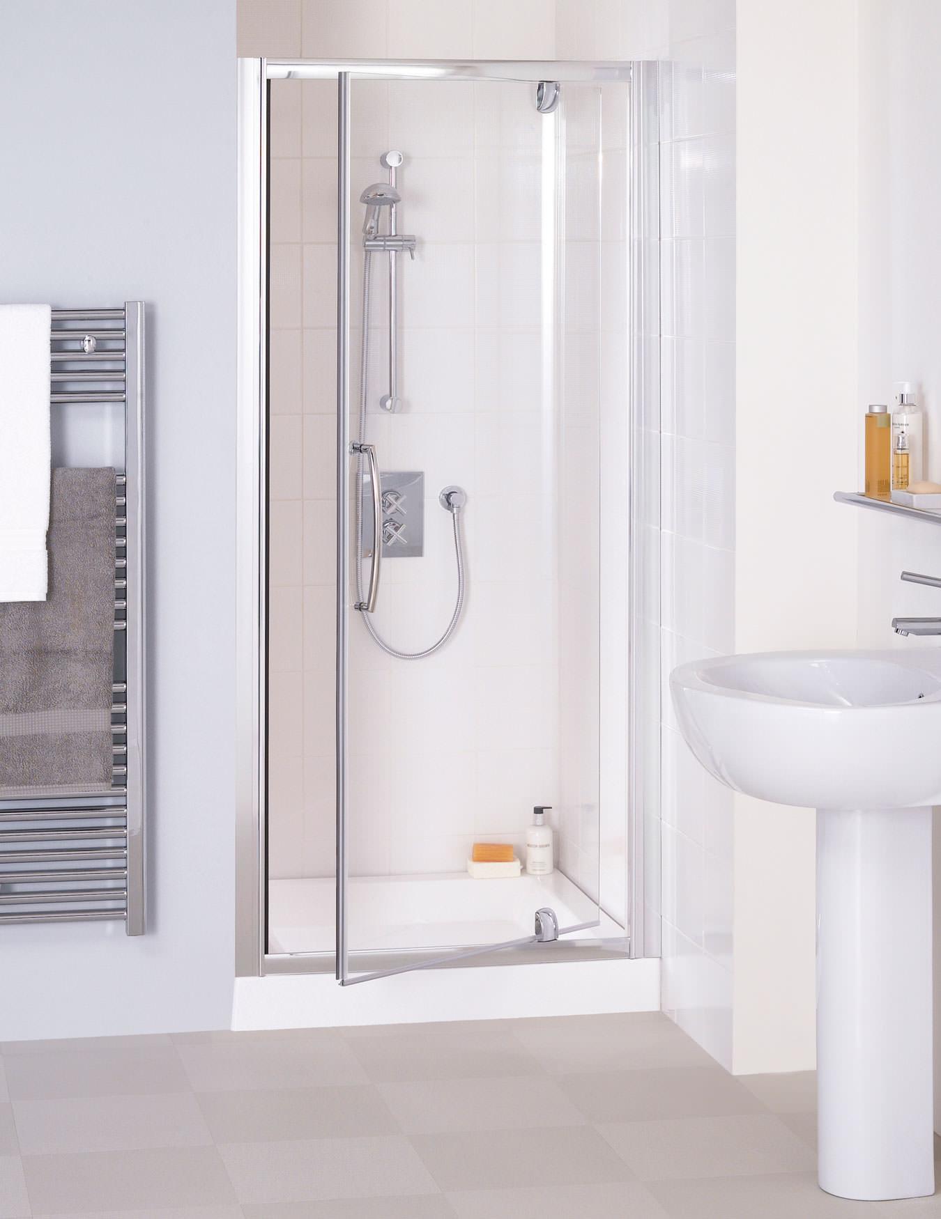 Lakes Classic Semi Frameless Pivot Shower Door 1000 X 1850mm Silver