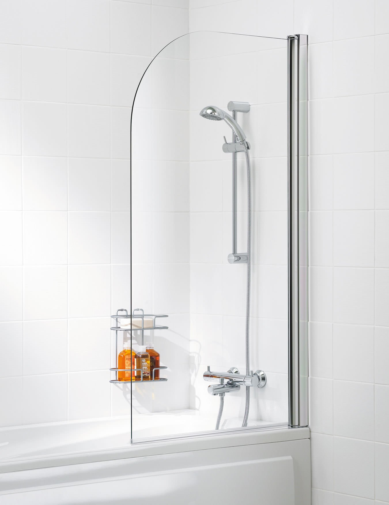 Lakes Classic Curved 6mm Glass Bath Screen 800 X 1400mm Silver