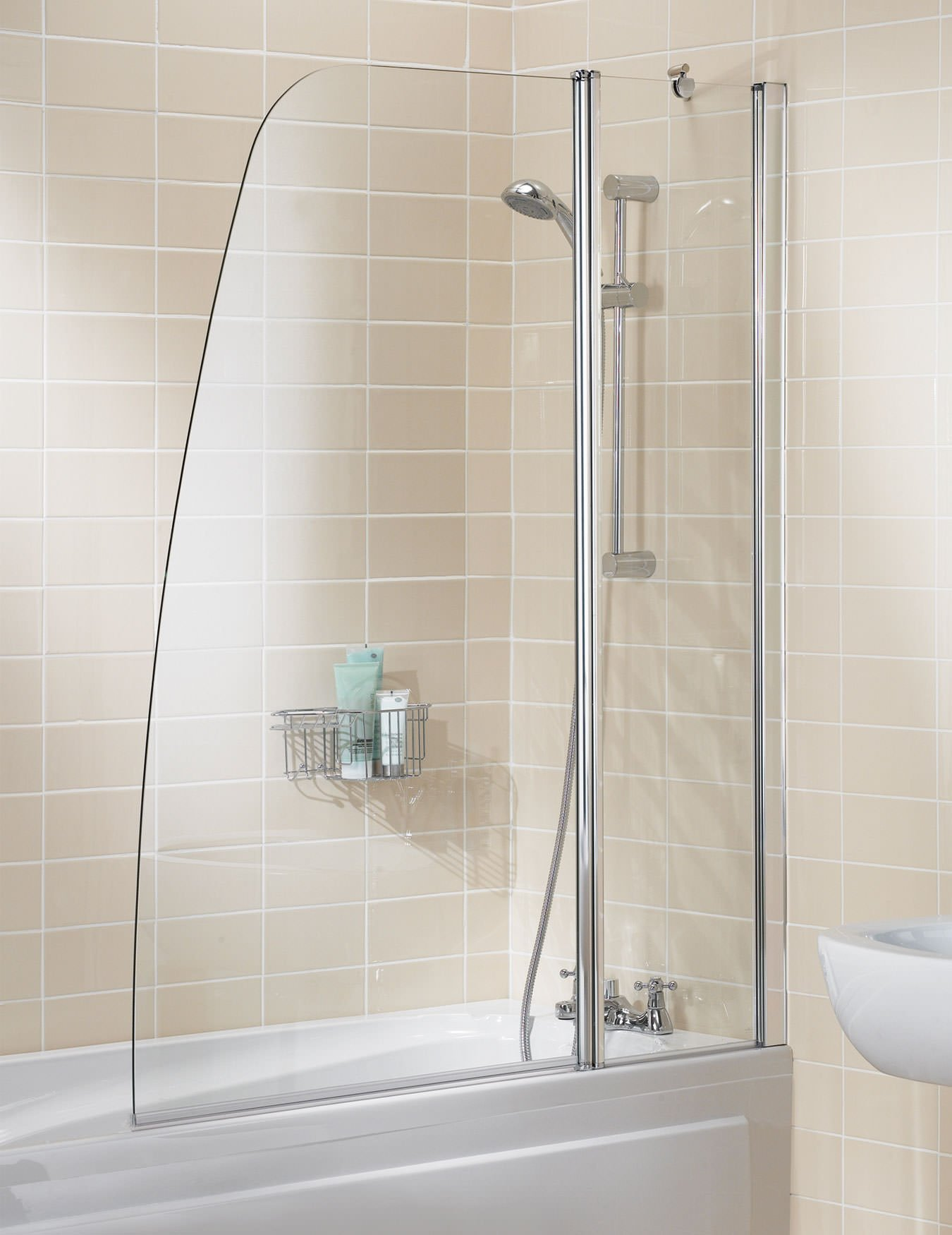 lakes classic double panel sculpted bath screen 1175mm silve