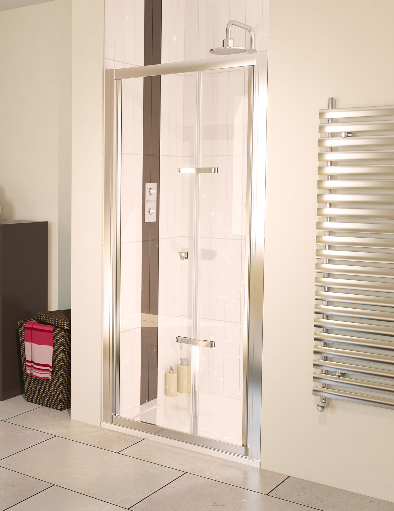 Aqualux aqua 6 bi fold shower door 900mm polished silver for 1800mm high shower door