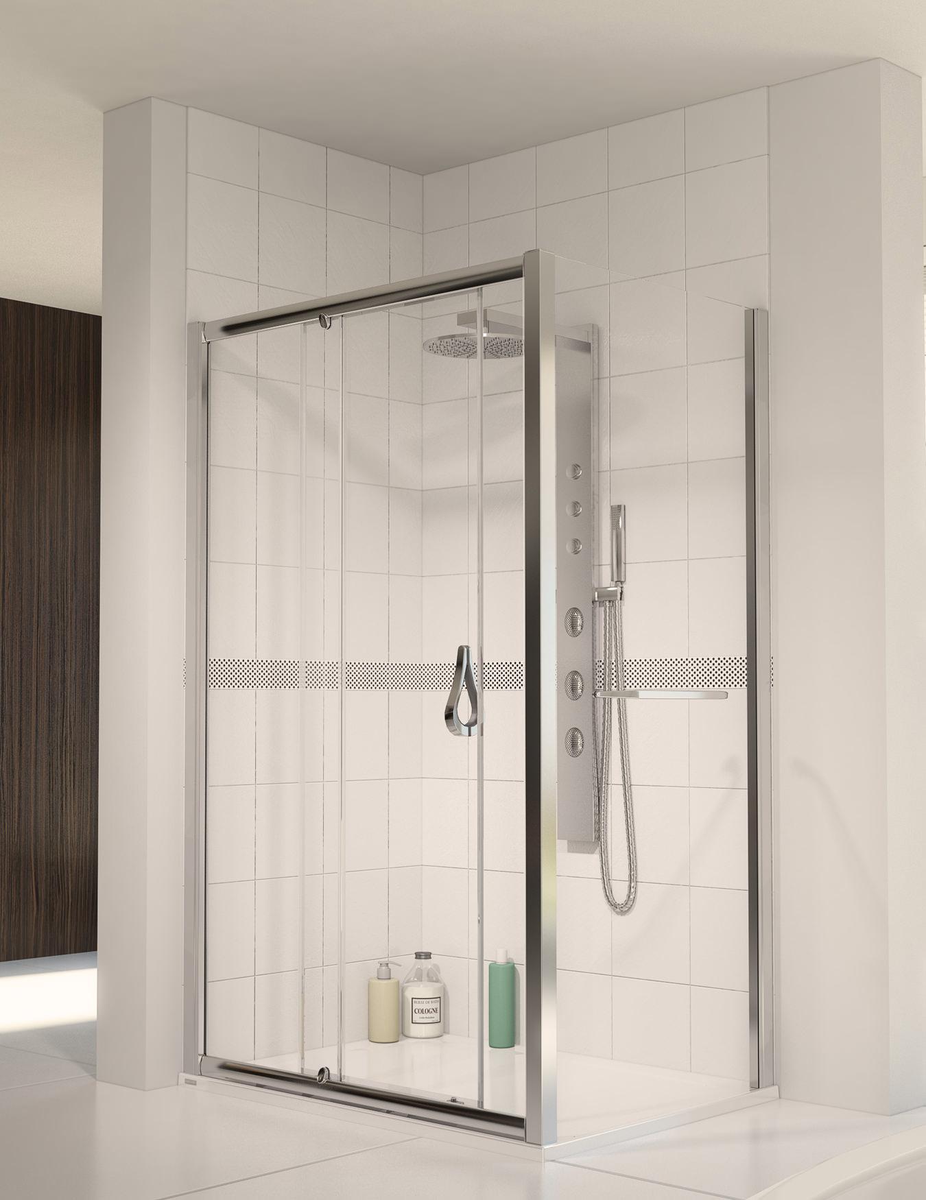 Aqualux Aqua 6 Sliding Shower Door 1100mm Polished Silver