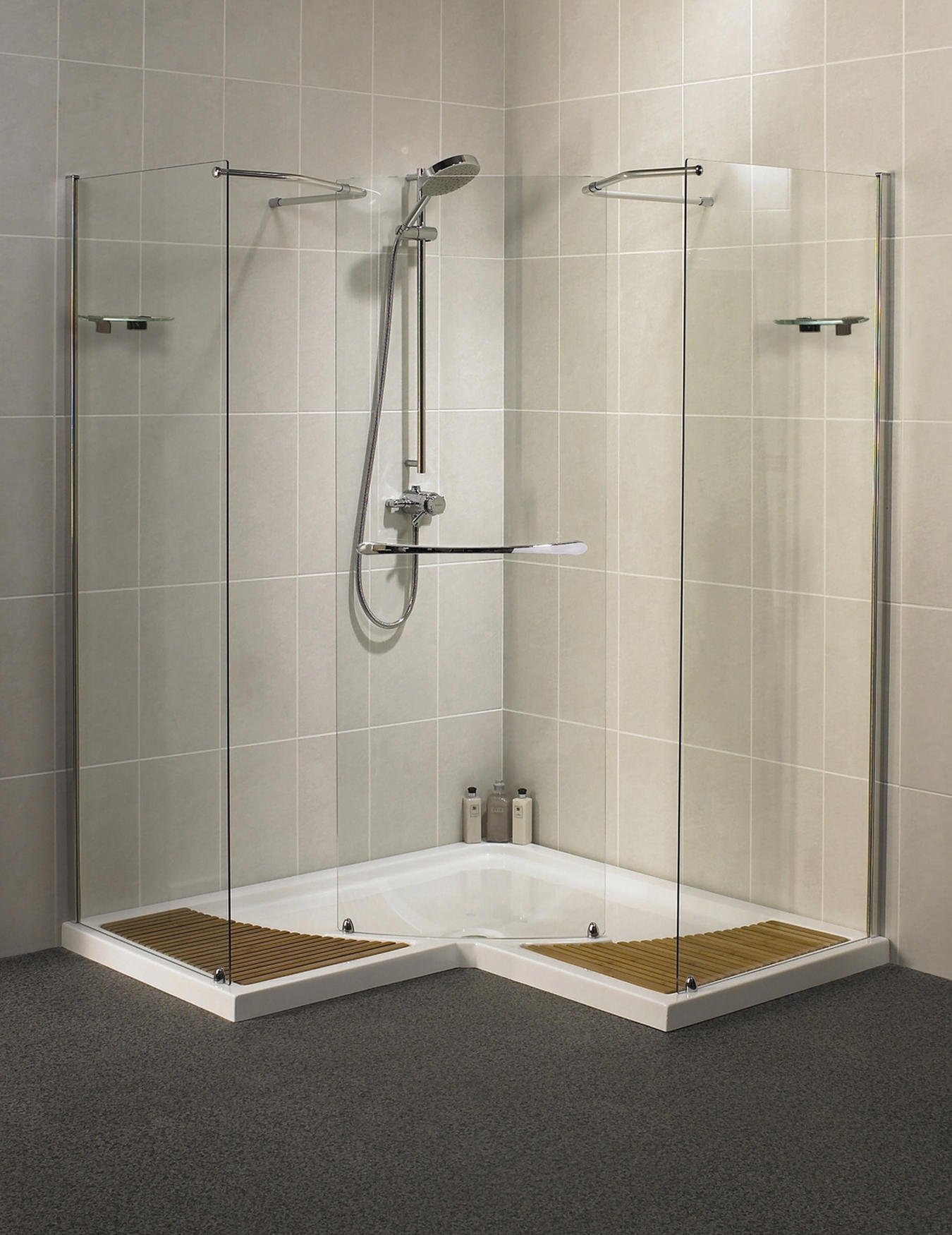 Lovely Walk In Shower Cubicles Part - 13: Aqualux Aquaspace Corner Walk-Through Shower Enclosure 1500mm