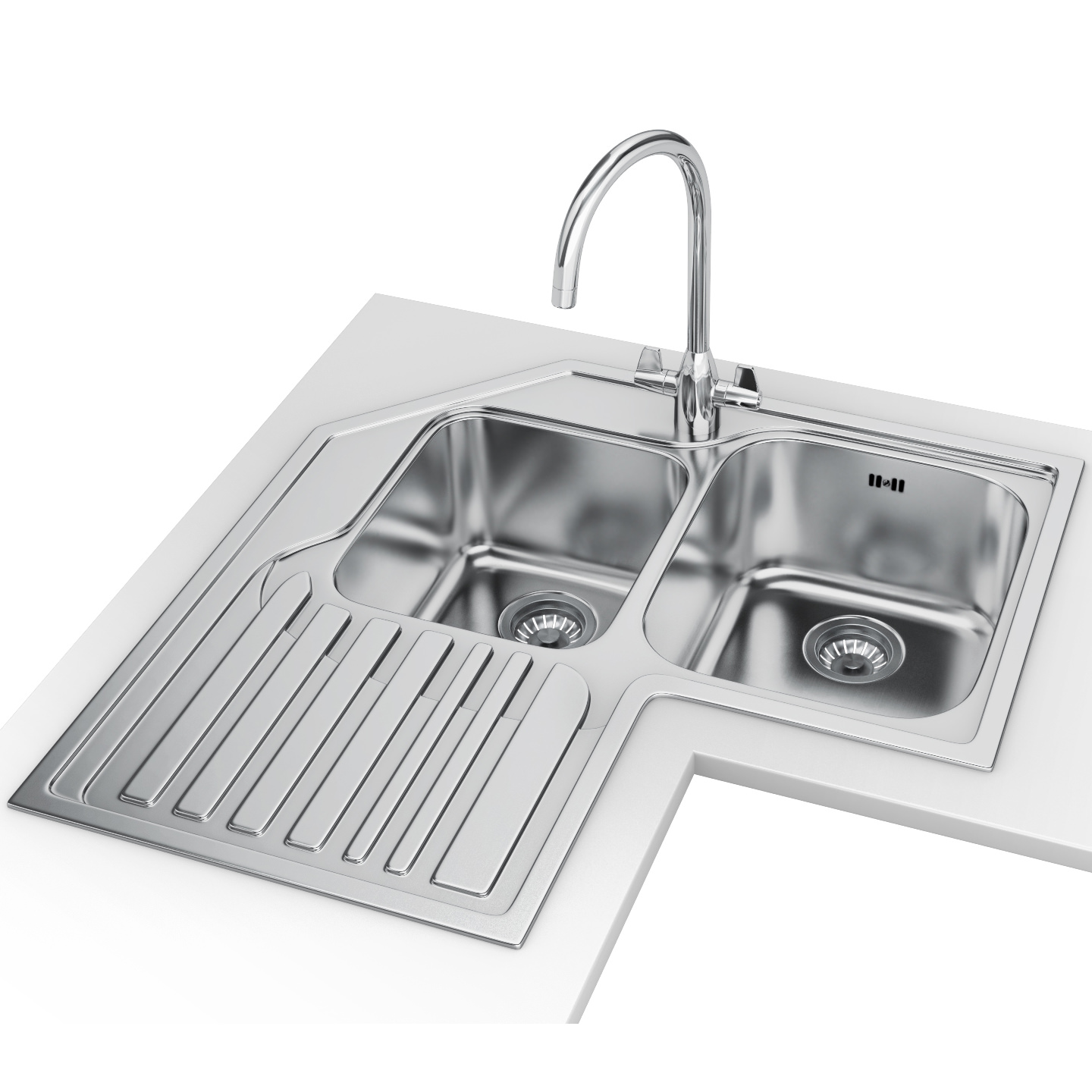 Franke Studio STX 621 E DP   Stainless Steel LHD Corner Inset Sink And Tap