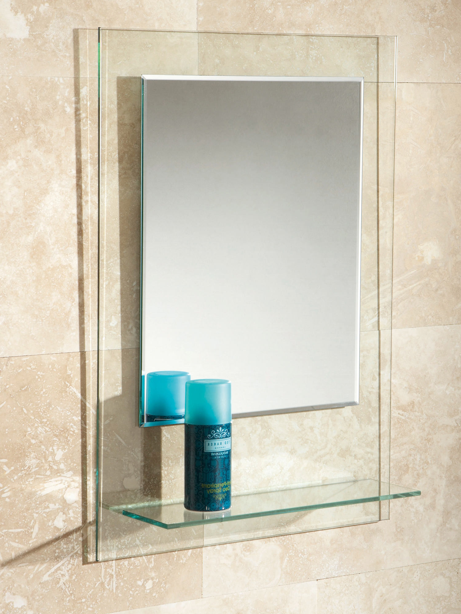 Hib Fuzion Bevelled Edge Mirror On Clear Glass With Glass Shelf