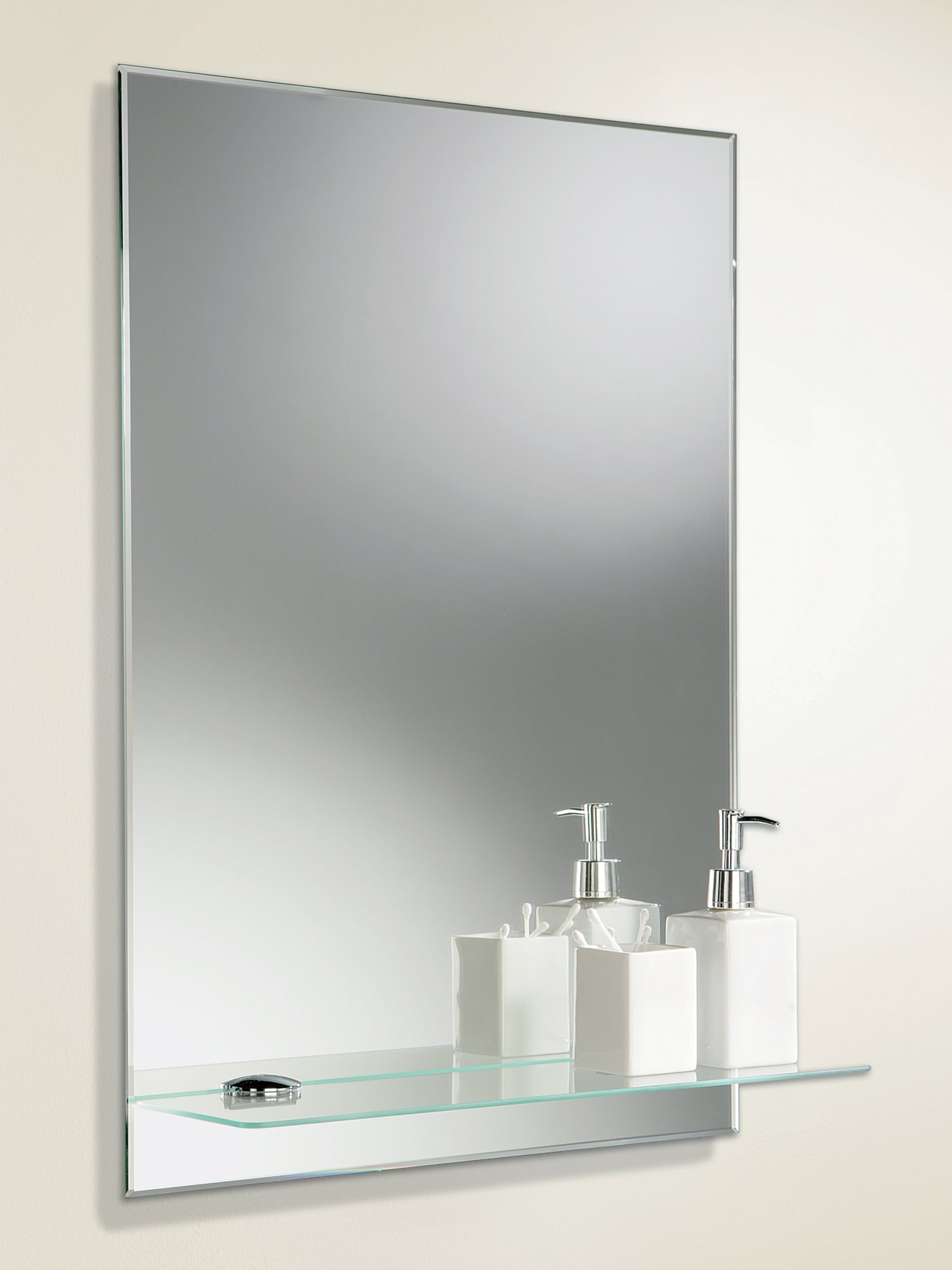 HIB Delby Rectangular Mirror With Integrated Glass Shelf 500 X 700mm