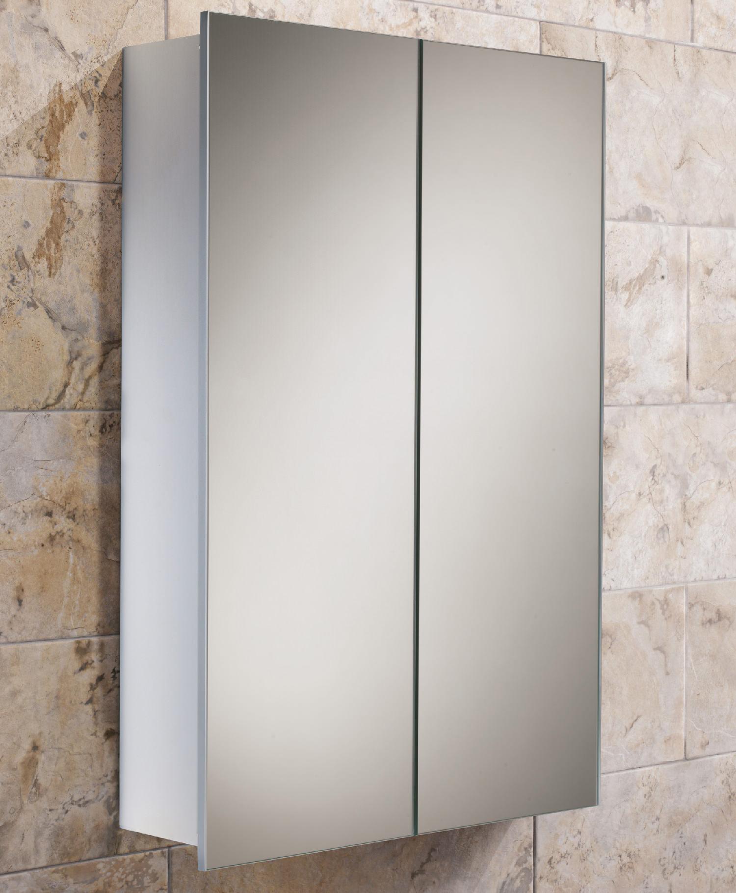 Hib jupiter double door aluminium bathroom cabinet 450 x 700mm for Bathroom cabinet 700