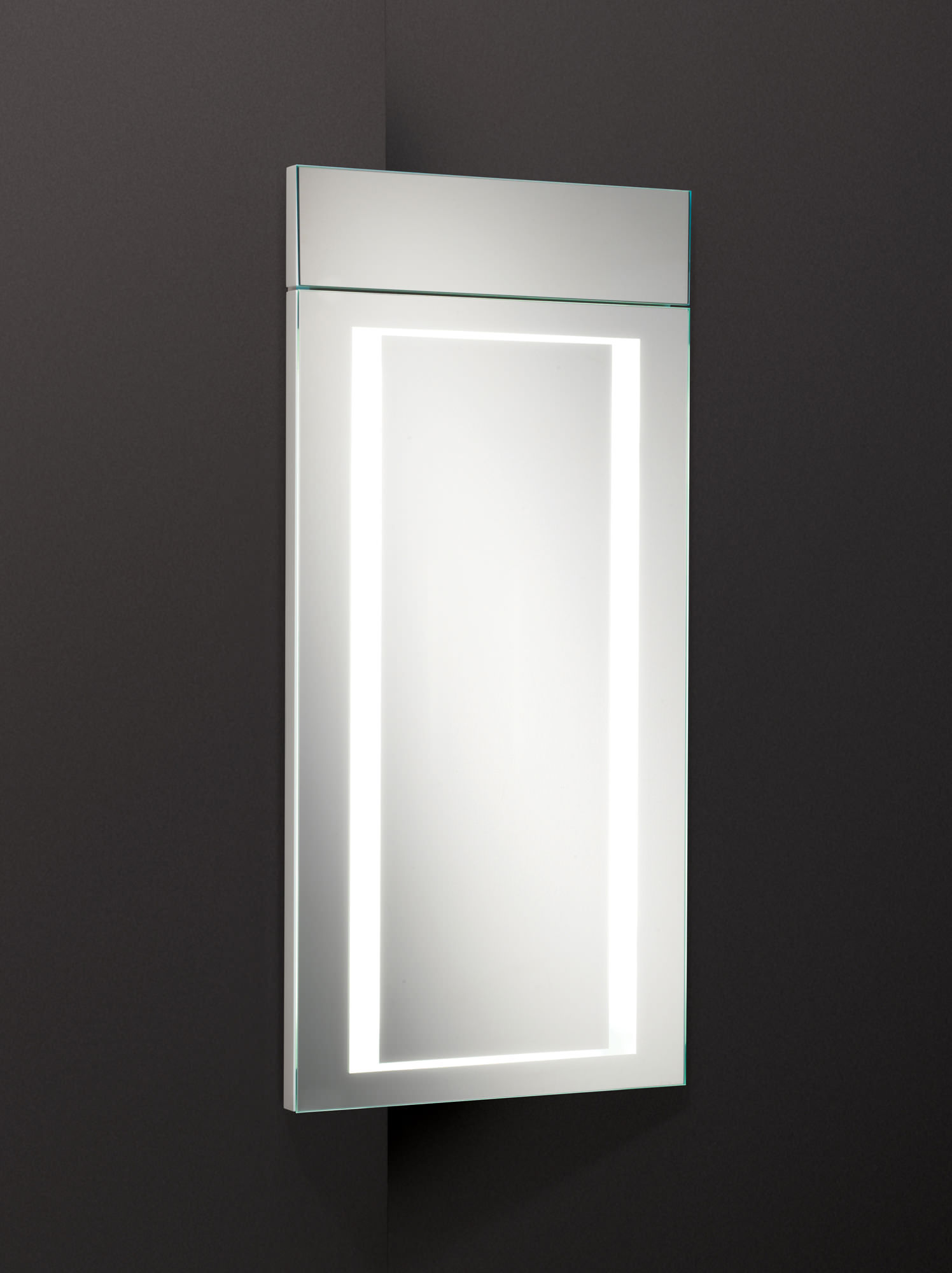 Hib minnesota led illuminated corner bathroom cabinet 300 for Bathroom cabinets led