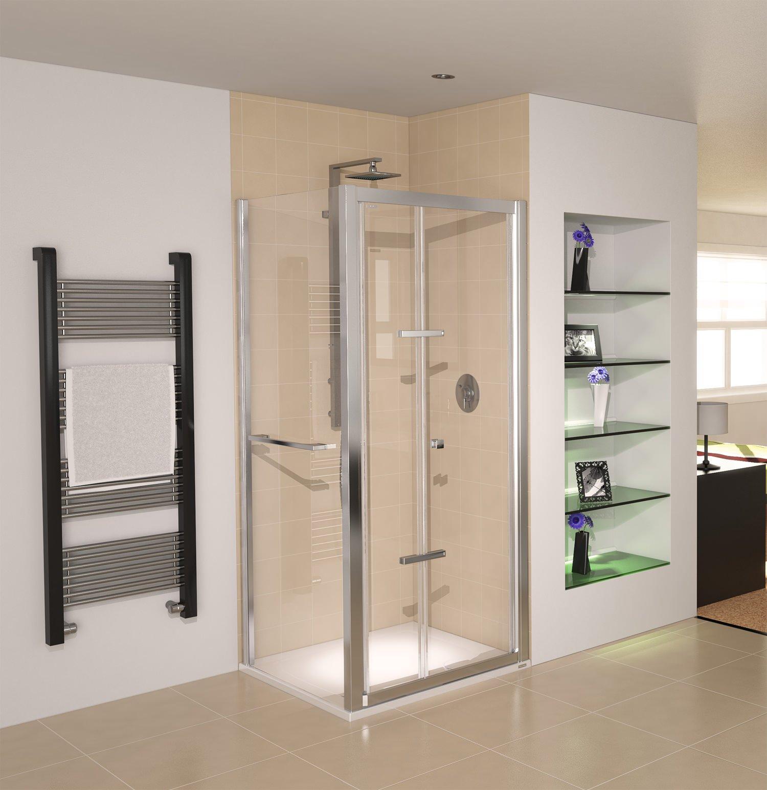 Aqualux aqua 8 glide bi fold shower door 900mm polished silver for 1800mm high shower door