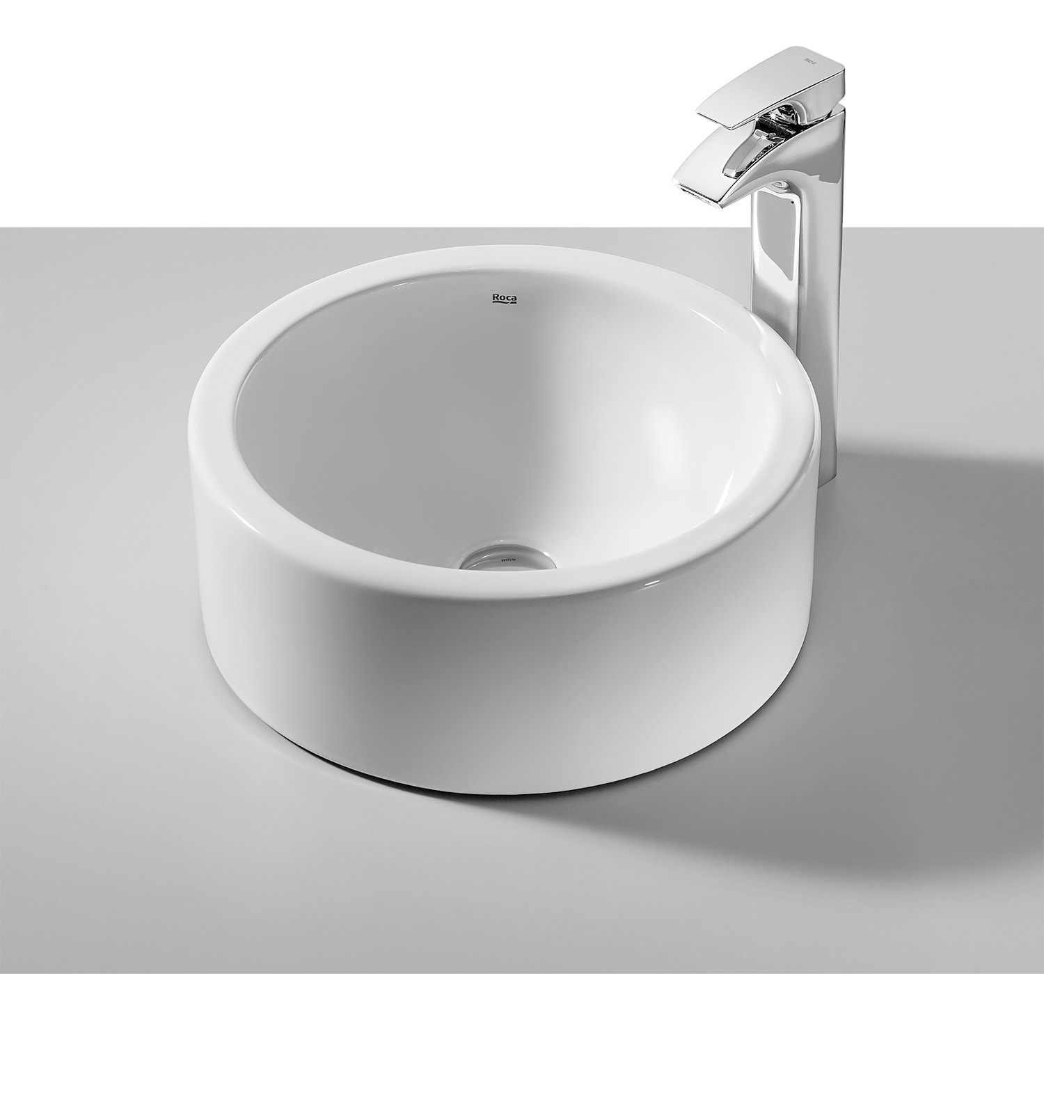 roca terra 350mm round over countertop basin with no taphole - Roca Wash Basin