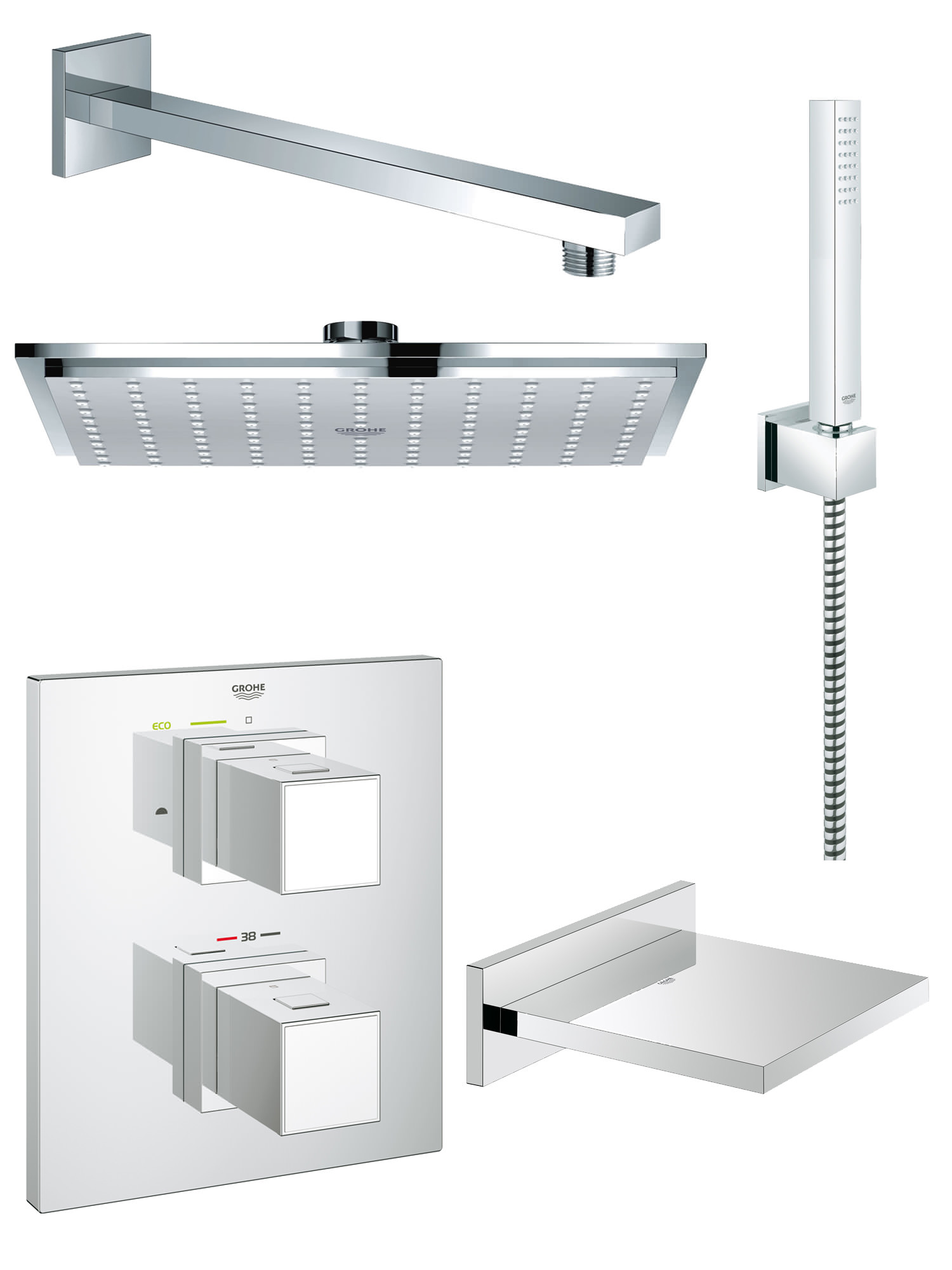 grohe grohtherm cube bath and shower shower solution pack 5. Black Bedroom Furniture Sets. Home Design Ideas