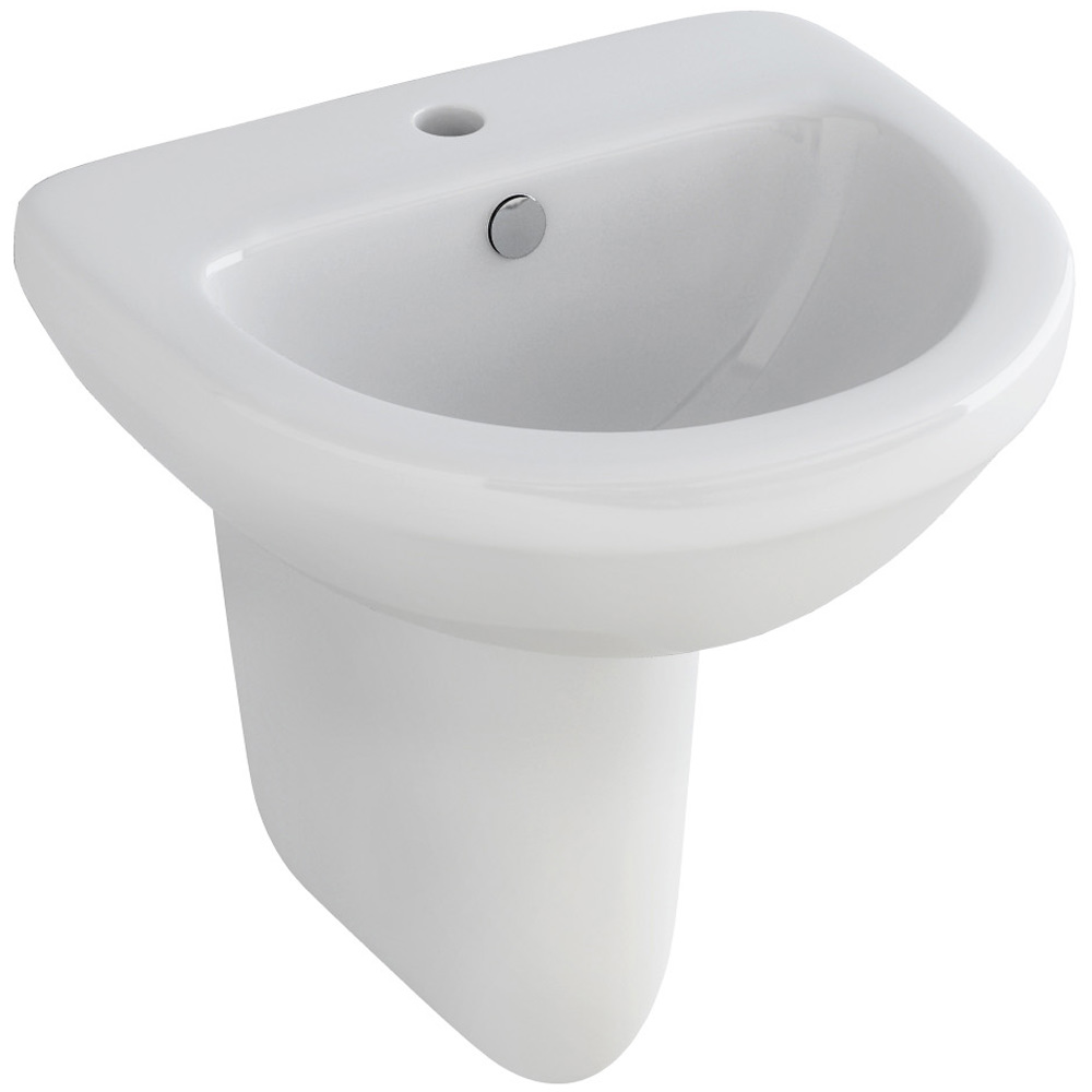 picture of bathroom tiles pura ivo compact 1 tap 500mm basin and half pedestal 19965