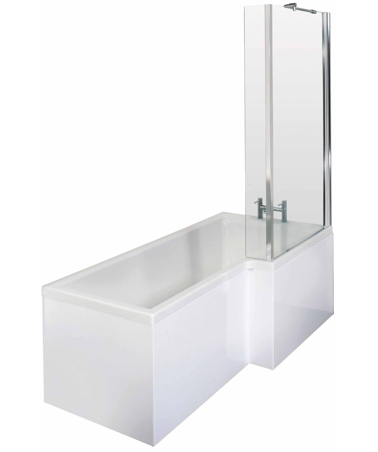 Lauren Square 1700 x 850mm Right Hand Acrylic Shower Bath Pack