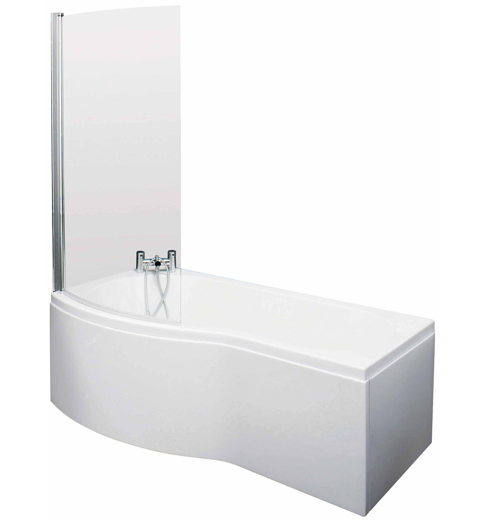 Lauren Curved B-Shaped 1700 x 900mm Left Acrylic Shower Bath Pack