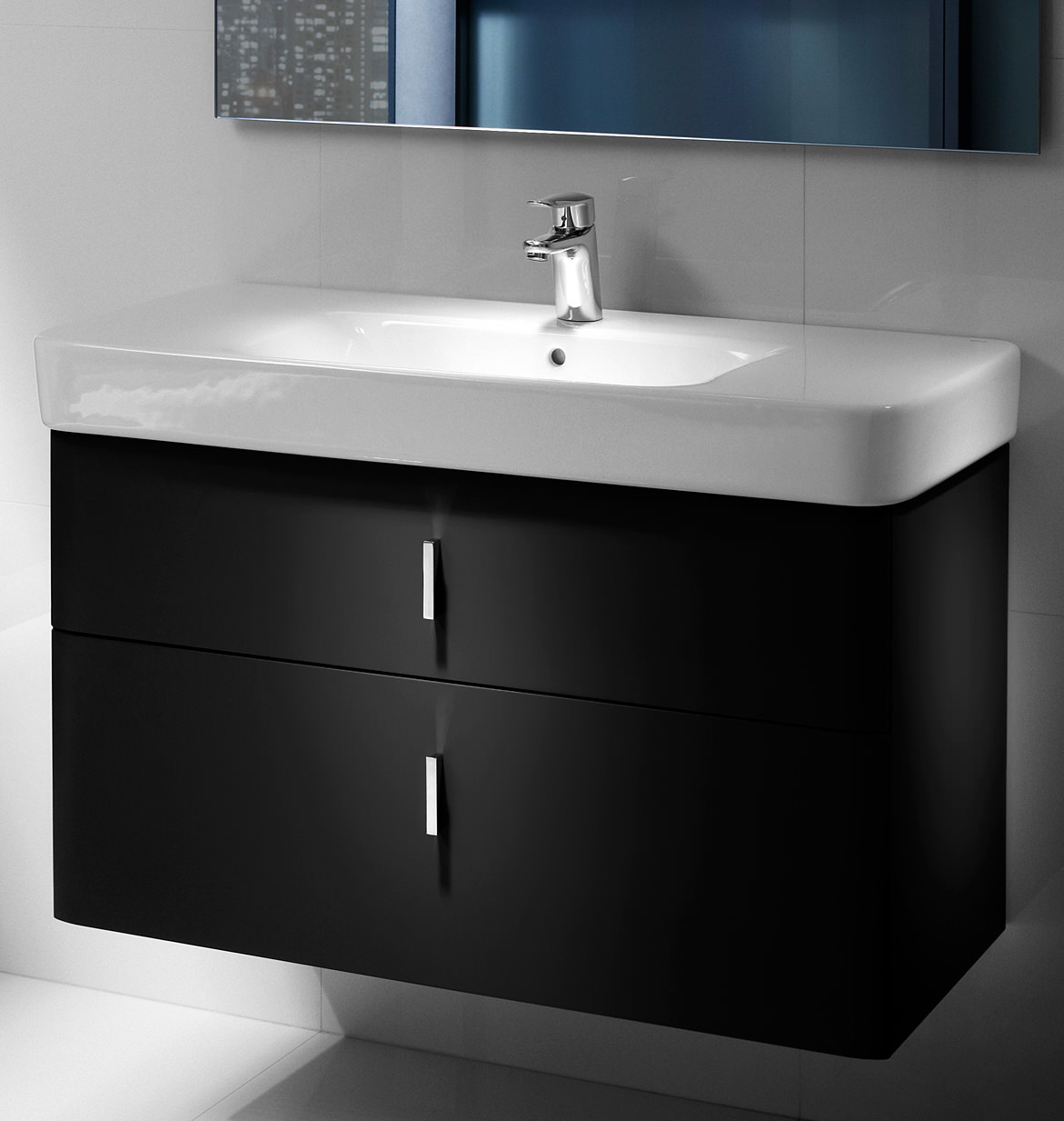 Roca Bathroom Accessories Roca Senso Square Matt Black 2 Drawer Base Unit For 100cm Basin