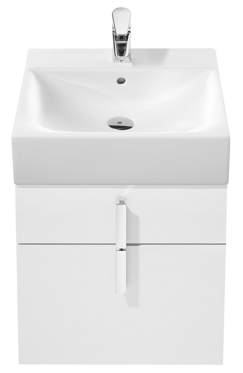 Roca Bathroom Accessories Diverta Gloss White Base Unit And 470mm Basin