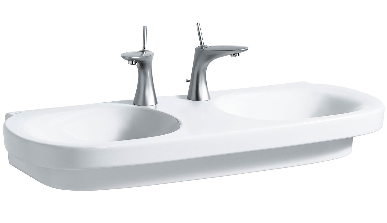 laufen mimo double washbasin 1000 x 440mm with no tap hole. Black Bedroom Furniture Sets. Home Design Ideas