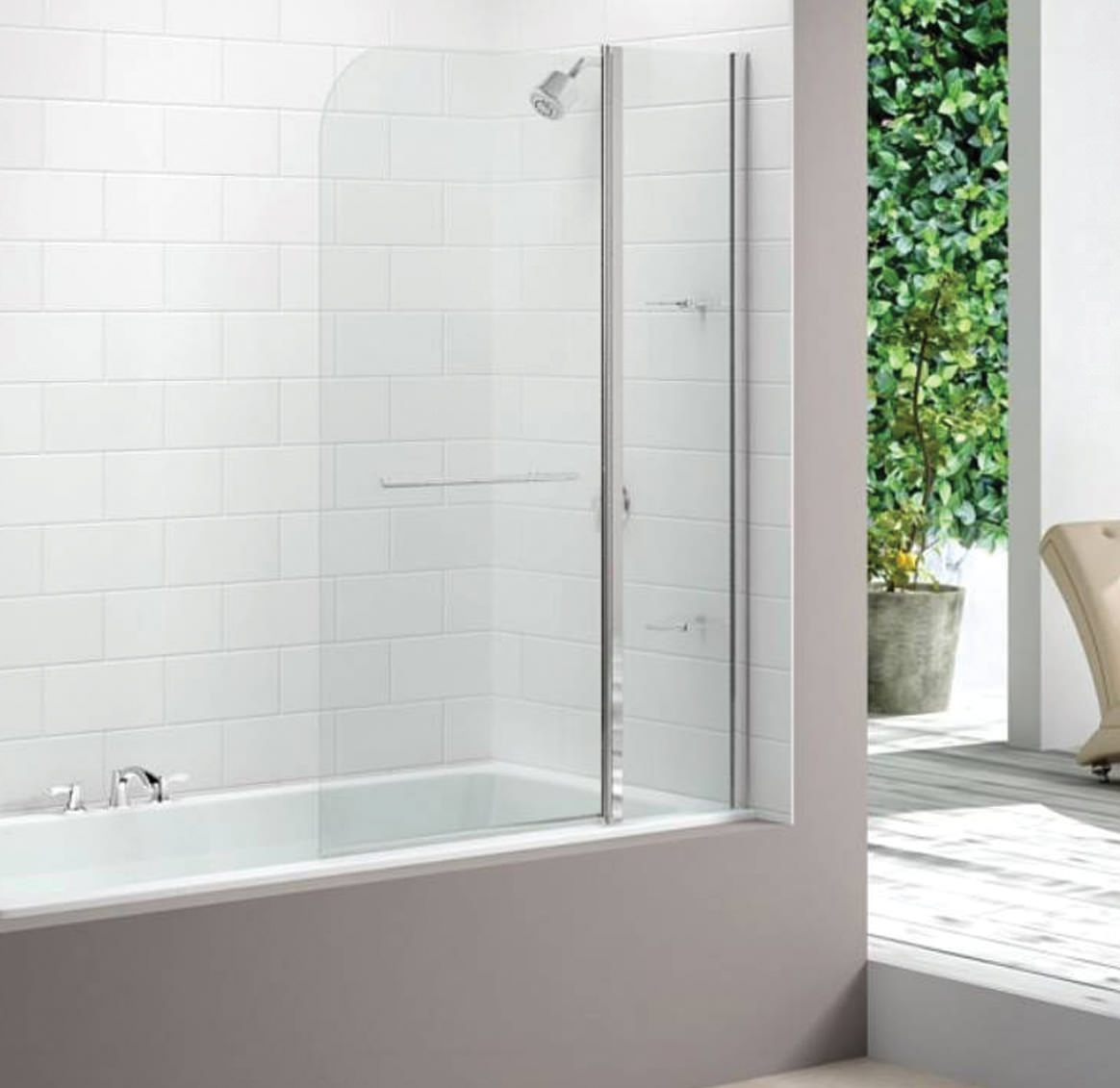 Merlyn 2 Panel Curved Bath Screen 1150 X 1500mm Mb3