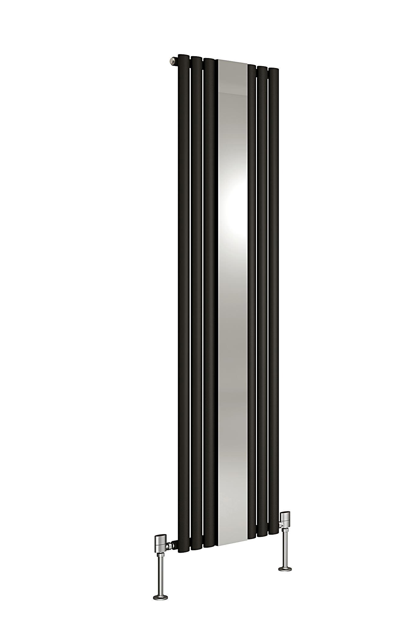 Dq heating cove mirror designer radiator 500 x 1800mm black for Mirror radiator