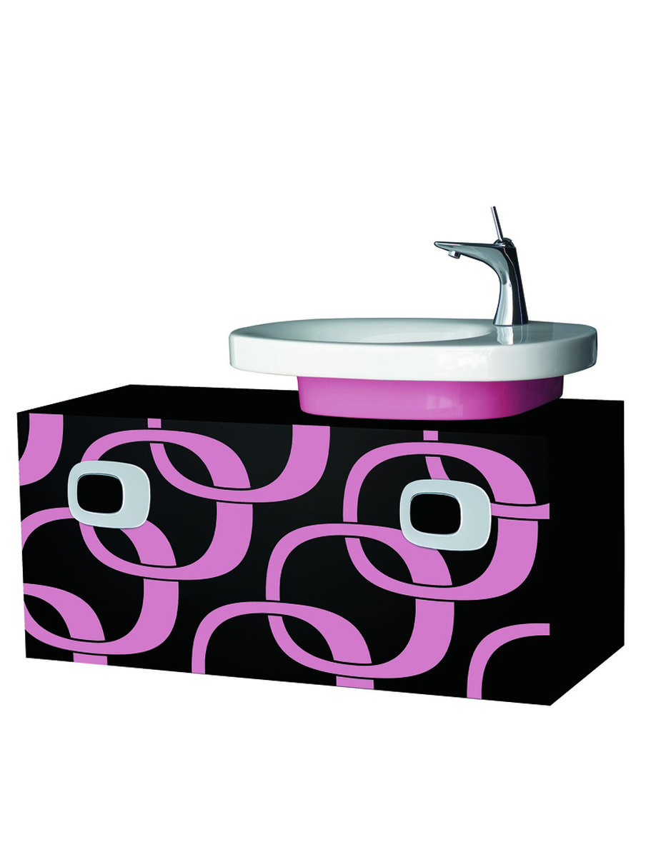 laufen mimo right hand vanity unit 1000mm black with pink. Black Bedroom Furniture Sets. Home Design Ideas