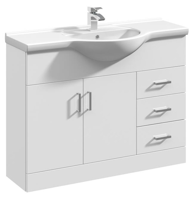 Beo 1050mm floor standing vanity unit and basin high gloss - High gloss bathroom vanity units ...