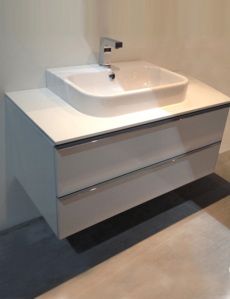 Duravit happy d2 1000mm white vanity unit with console and - Duravit bathroom furniture uk ...